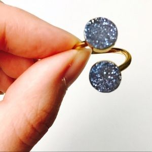 Druzy Crystal Double Stone Spiral Gold Ring
